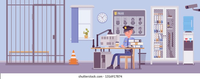 Police station office and a policeman working. Male officer sitting at workplace in city department, room interior with professional tools, wanted poster, gun cabinet, jail cell. Vector illustration