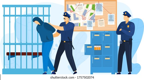 Police station place, detention criminal by police officer work militia, felon man put prison isolated on white, cartoon vector illustration. Concept jail area, attacker imprison cell.