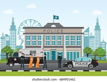 Police station with prison bus, cop and prisoner in orange prisons handcuffed, flat style Vector illustration.