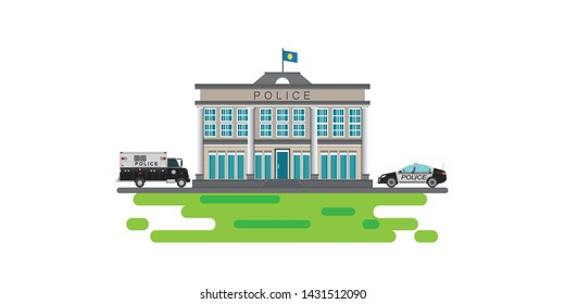 Police station with prison bus icon isolated on white background, flat style Vector illustration.