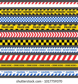 Police stopped the tape. Danger construction barricade red, blue and yellow tape. Vector illustration isolated from background