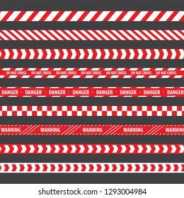Police stripe border vector set