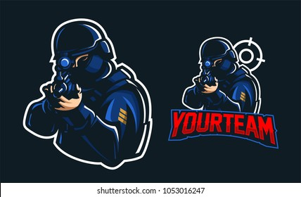 police swat aiming with rifle sport gaming mascot logo template