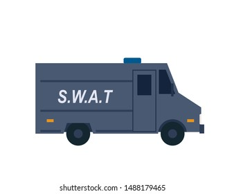 Police swat truck icon. Clipart image isolated on white background