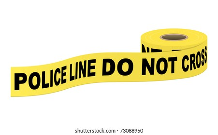 Police tape with text. Vector illustration.