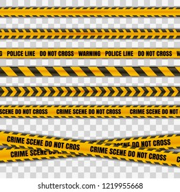 Police tape warning  danger set isolated in transparent background. Barricade tape, Do not cross, police crime scene line  yellow official crime scene barrier tape. Vector realistic style with shadow