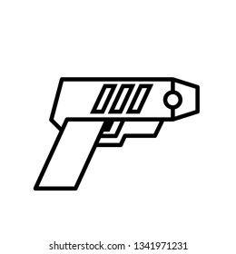 Police taser outline icon. Clipart image isolated on white background
