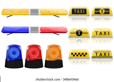 Police, Taxi, emergency light sign. Blue, red, yellow siren. Vector isolated on white background.