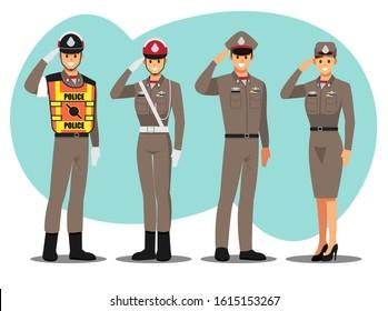 police thai character set, Vector illustration cartoon character.