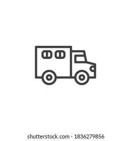 Police truck line icon. linear style sign for mobile concept and web design. Paddy wagon outline vector icon. Symbol, logo illustration. Vector graphics
