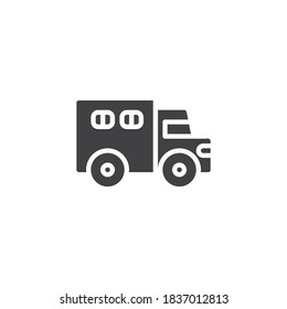 Police truck vector icon. filled flat sign for mobile concept and web design. Paddy wagon glyph icon. Symbol, logo illustration. Vector graphics
