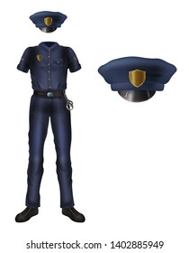 Police uniform and cap with cockade, policeman security costume isolated on white background. blue colored forming dress with short sleeves and handcuffs on belt. Realistic 3d vector illustration