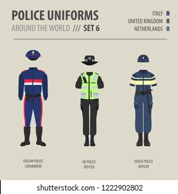 Police uniforms around the world. Suit, clothing of european police officers vector illustrations set