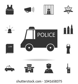 Police van icon. Detailed set of police element icons. Premium quality graphic design. One of the collection icons for websites, web design, mobile app on white background