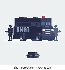 Police van. Swat truck. Special squad vehicle.  Pixel art style vector illustration