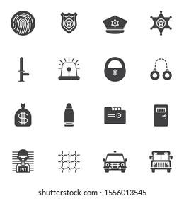 Police vector icons set modern solid symbol collection filled style pictogram pack. Signs, logo illustration. Set includes icons as fingerprint, police badge, sheriff star, handcuffs, prisoner, prison