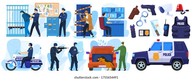Police vector illustration set. Cartoon flat policeman and criminal characters on arrest emergency, police officer people in uniform or bulletproof vest with handcuffs, cop profession isolated on white