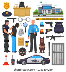 Police vector policeman character and policeofficer in bulletproof vest with handcuffs in police-office illustration set of or policy signs and police car isolated on background