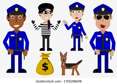 Police vector set policeman policewoman robber