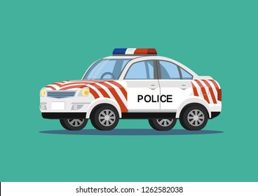 Police vehicles in Taiwan. Vector illustration.