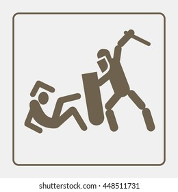 Police violence icon (pictogram). Flat vector design on isolated background.