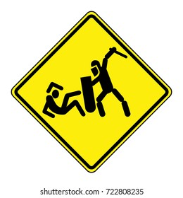 Police violence warning sign. Separated elements, EPS 8 vector.