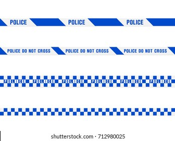 police warning blue tape set. Vector seamless pattern isolated on white background
