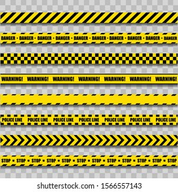 Police Warning Line. Yellow And Black Barricade Construction Tape On Transparent Background. Vector illustration. EPS 10