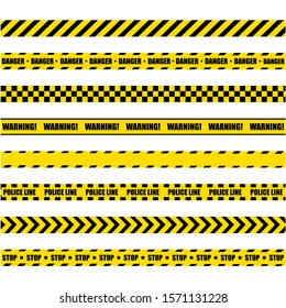 Police Warning Line. Yellow And Black Barricade Construction Tape On White Background. Vector illustration. EPS 10