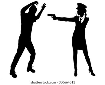 police woman showing the hush sign