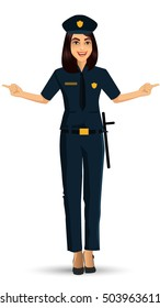Police woman in uniform. Vector illustration Isolated on white background.