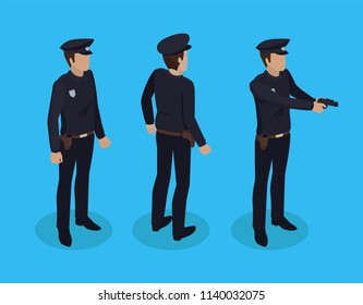 Police worker man wearing special black uniform with cap and badge. Policeman construction set back profile views. Person with gun isolated vector