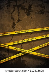 Police yellow tape hanging over a cracked concrete wall. Realistic eps10 vector.