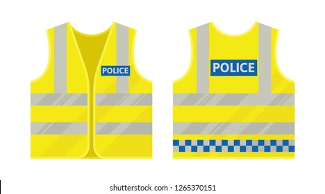 Police yellow vest. Reflective safety vest. Vector, isolated.