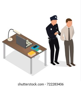 Policeman arrest businessman for corruption crime and puts on handcuffs. Vector isometric scene: policeman, criminal,  handcuffs, suitcase full of money. Isometric people. - stock vector