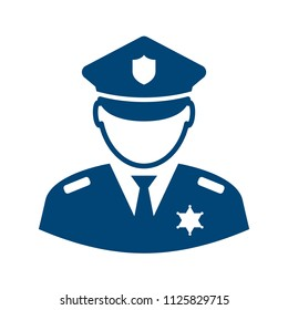 Policeman avatar vector icon illustration isolated on white background