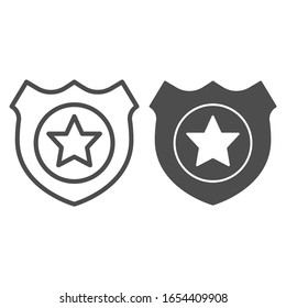 Policeman badge line and solid icon. Emblem of a human rights defender, police officer. Jurisprudence design concept, outline style pictogram on white background, use for web and app. Eps 10