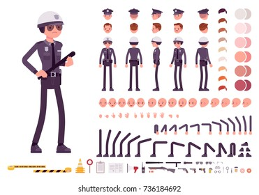 Policeman in black uniform character creation set. Full length, different views, emotions, gestures, equipment, police gear. Build your own design. Cartoon flat-style infographic illustration