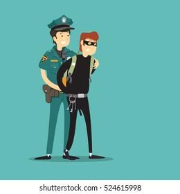 policeman catch thief. Vector illustration.