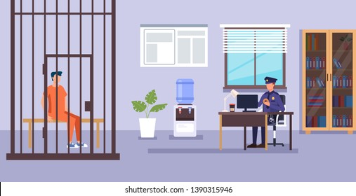 Policeman character working. Police department low system concept. Vector design flat graphic cartoon illustration