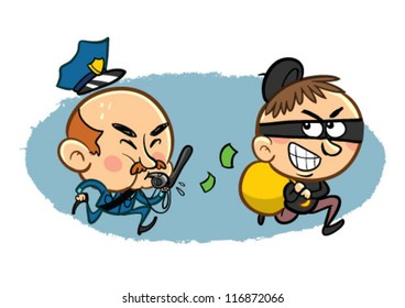 Policeman chasing the robber cartoon