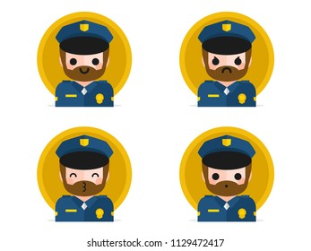 Policeman colorful flat design icons set, with different expressions, template elements for web and mobile applications