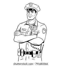 Policeman coloring vector illustration. Isolated image on white background. Comic book style imitation.