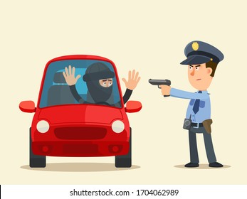 A policeman detained a car thief. Carjacker is sitting in a car with hands up, policeman is aiming at him with a pistol, gunpoint. Vector illustration, flat design, cartoon style, isolated background.