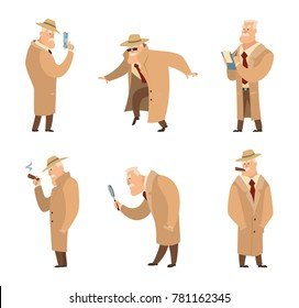 Policeman or detective search criminal. Vector set of funny characters detective man in different situation illustration