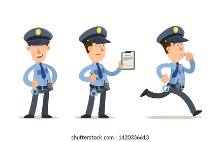 Policeman in different poses. Running cop, standing smiling officer, policeman writes a fine. Vector illustration, flat cartoon style. Isolated on white background.