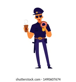 Policeman eating a donut and holding cup of coffee, cartoon man in police officer uniform standing and having a snack, Isolated flat vector illustration.