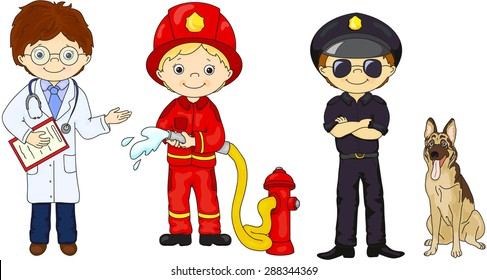 Policeman, fireman and doctor in their uniform. Vector illustration