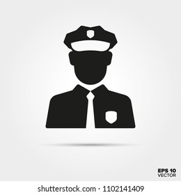 Policeman glyph icon vector. Law enforcement and criminal justice symbol.