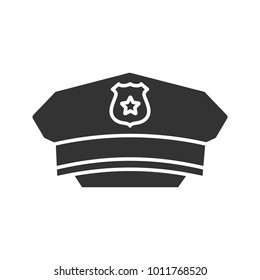 Policeman hat glyph icon. Cop cap. Silhouette symbol. Negative space. Vector isolated illustration